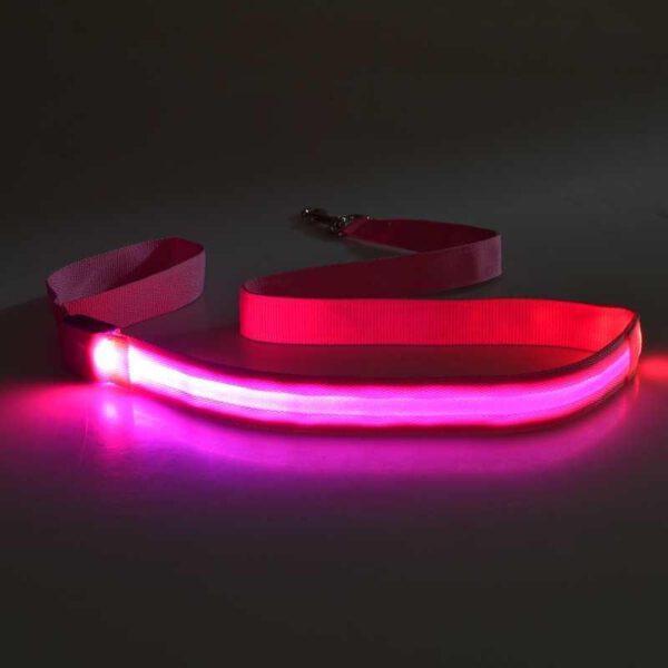 LED Leine für Hunde (pink)