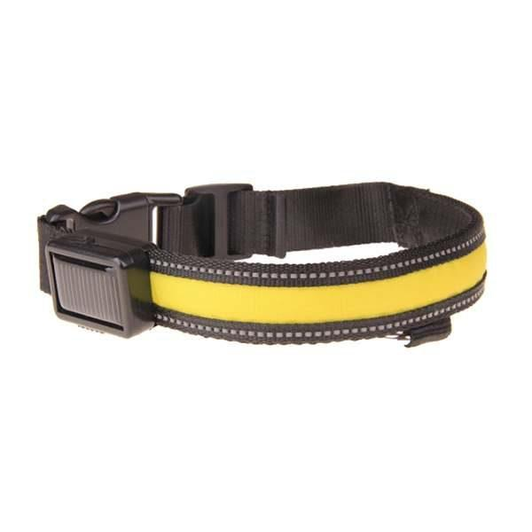 Leuchthalsband für Hunde (gelb) - USB, Solar