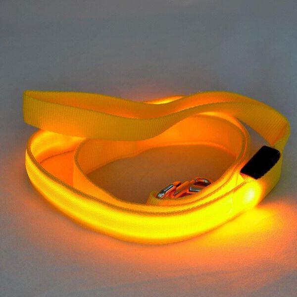 LED Hundeleine Gelb
